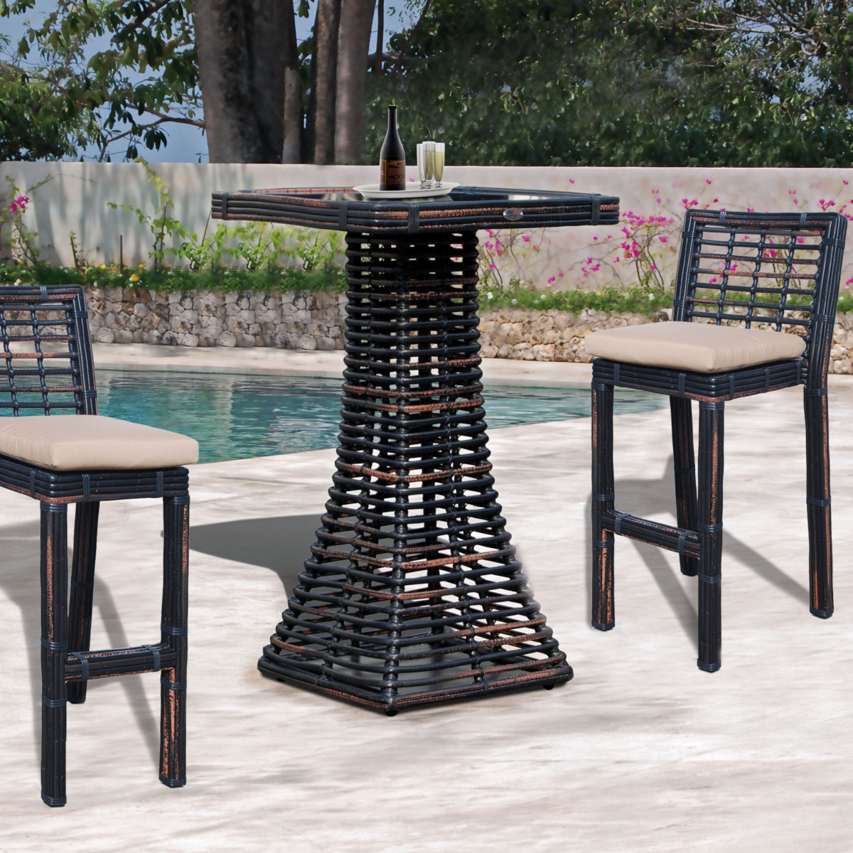 Topaz Sq. Bar Table & Stools - BMNP sq